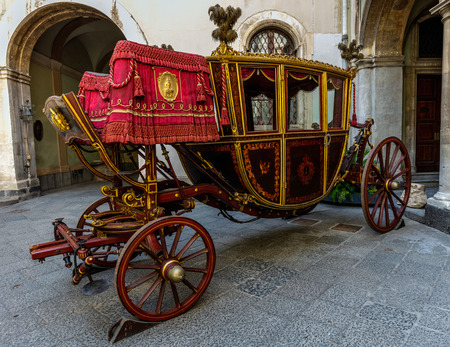 Painted wooden coach in Catania, Sicily, Italy