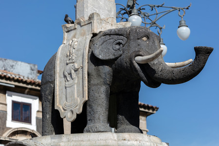 supposedly: Elephant statue in the Catania Obelisk in Catania, Sicily, Italy, supposedly made during the ancient Roman times from the black volcanic lava stone.