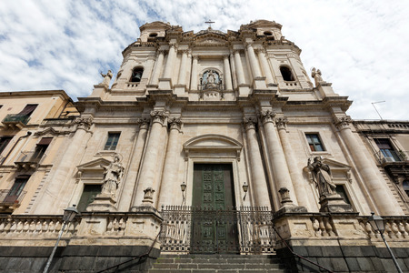 of assisi: Early 18th century Baroque facade of the Church of Saint Francis of Assisi at the Immaculate in Catania, Sicily, Italy