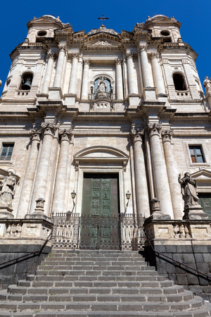 Early 18th century Baroque facade of the Church of Saint Francis of Assisi at the Immaculate in Catania, Sicily, Italy