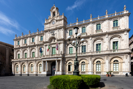The Palazzo dellUniversita in Catania, Sicily, Italy held the first four faculties of the University of Catania since 1690s.