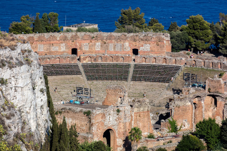 The Ancient theater of Taormina, Sicily, Italy, built by the Greeks around the third century BC, then renovated and expanded by the Romans