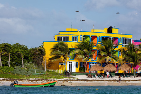 playa: Hotels along the Akumal beach. Akumal is a small beach-front tourist resort community in Quintana Roo, Mexico, between the towns of Playa del Carmen and Tulum. Editorial