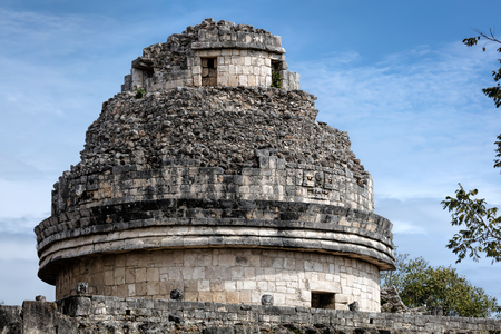 proto: Ancient Mayan building called El Caracol thought to be a proto-observatory with doors and windows aligned to astronomical events, located at Chichen Itza, Yucatan, Mexico.
