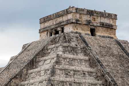 El Castillo, a.k.a the Temple of Kukulcan, a Mesoamerican step-pyramid at the center of the Chichen Itza archaeological site in Yucatan, Mexico, considered to be one of the New 7 Wonders of the World