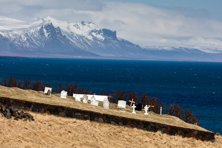 Cemetery of the ancient fishing village of Hellnar, on the Snaefellsnes peninsula in Iceland. Stock Photo