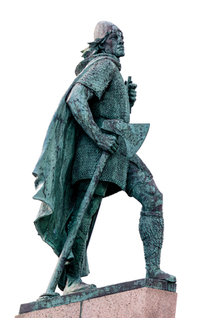 Statue of Leif Eriksson, the best known Viking to have explored North America, erected in Reykjavik, Iceland in 1932, sculpted Alexander Stirling Calder.