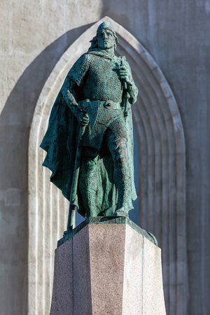 leif: Statue of Leif Eriksson, the best known Viking to have explored North America, erected in Reykjavik, Iceland in 1932, sculpted Alexander Stirling Calder.