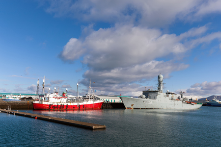HDMS Triton in the Reykjaviks harbor. The Triton is a Thetis-class frigate belonging to the Royal Danish Navy.