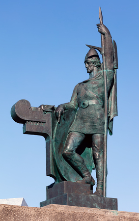 Statue Ingolfur Arnarson, a Norwegian Viking, considered the first settler in Iceland, erected in in Reykjavik, Iceland in 1924, sculpted by Einar Jonsson.