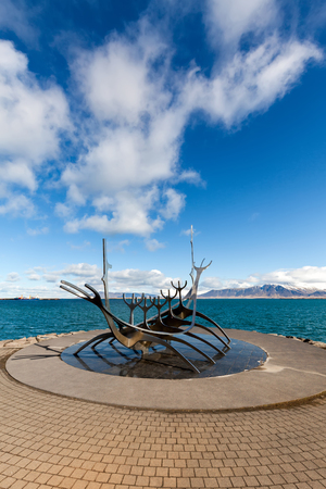 Sun Voyager in Reykjavik, Iceland, sculpted by Jon Gunnar Arnason, installed in 1990, signifies promise of undiscovered territory, a dream of progress and freedom.