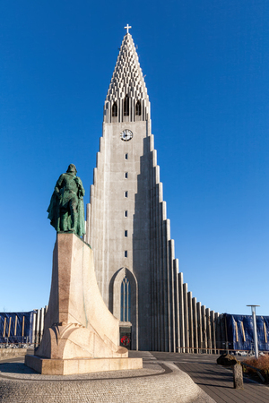 leif: Hallgrimskirkja, a Lutheran parish church, named after the Icelandic poet and clergyman Hallgrimur Petursson, commissioned in 1937, completed in 1940.