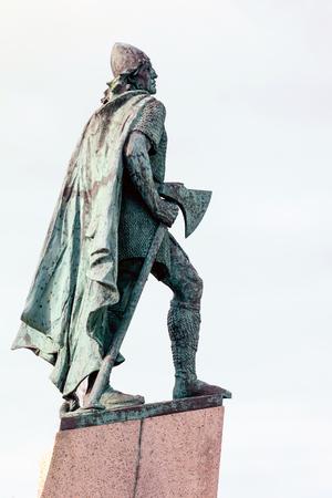 REYKJAVIK, ICELAND - APRIL 9 2017: Statue of Leif Eriksson, the best known Viking to have explored North America, erected in Reykjavik, Iceland in 1932, sculpted Alexander Stirling Calder.