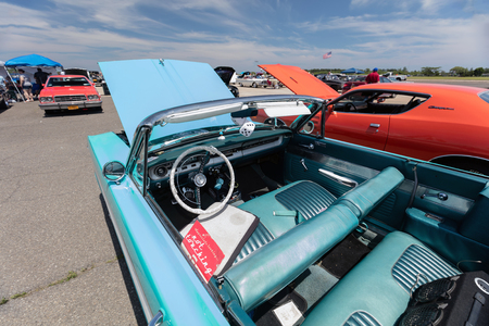 BROOKLYN, NEW YORK - JUNE 11 2017: A 1964 Ford Convertible on display at the Antique Automobile Association of Brooklyn Annual Show at the Floyd Bennett Field in Brooklyn, New York, USA. Editorial