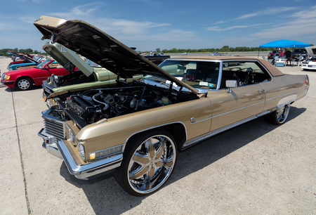 BROOKLYN, NEW YORK - JUNE 11 2017: A 1972 Cadillac on display at the Antique Automobile Association of Brooklyn Annual Show at the Floyd Bennett Field in Brooklyn, New York, USA.