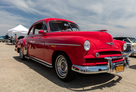 BROOKLYN, NEW YORK - JUNE 11 2017: A 1949 Chevrolet on display at the Antique Automobile Association of Brooklyn Annual Show at the Floyd Bennett Field in Brooklyn, New York, USA.