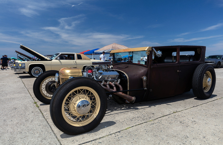 BROOKLYN, NEW YORK - JUNE 11 2017: A 1927 Ford on display at the Antique Automobile Association of Brooklyn Annual Show at the Floyd Bennett Field in Brooklyn, New York, USA.
