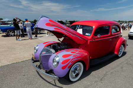 BROOKLYN, NEW YORK - JUNE 11 2017: A 1940 Ford on display at the Antique Automobile Association of Brooklyn Annual Show at the Floyd Bennett Field in Brooklyn, New York, USA.
