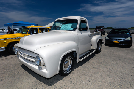 BROOKLYN, NEW YORK - JUNE 11 2017: A 1954 Ford Pickup on display at the Antique Automobile Association of Brooklyn Annual Show at the Floyd Bennett Field in Brooklyn, New York, USA.