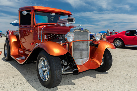 BROOKLYN, NEW YORK - JUNE 11 2017: A 1930 Ford Pickup on display at the Antique Automobile Association of Brooklyn Annual Show at the Floyd Bennett Field in Brooklyn, New York, USA.