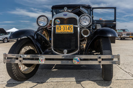 BROOKLYN, NEW YORK - JUNE 11 2017: A Ford Model A on display at the Antique Automobile Association of Brooklyn Annual Show at the Floyd Bennett Field in Brooklyn, New York, USA. Redactioneel