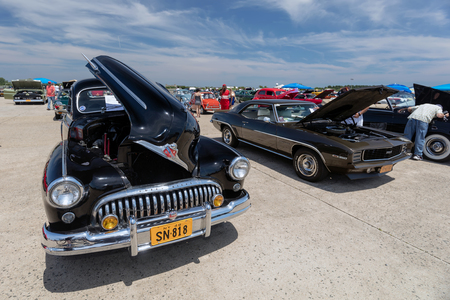 BROOKLYN, NEW YORK - JUNE 11 2017: A 1948 Buick Eight on display at the Antique Automobile Association of Brooklyn Annual Show at the Floyd Bennett Field in Brooklyn, New York, USA.