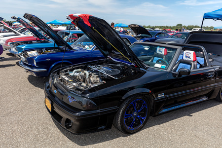 BROOKLYN, NEW YORK - JUNE 11 2017: A 1993 Ford Mustang GT on display at the Antique Automobile Association of Brooklyn Annual Show at the Floyd Bennett Field in Brooklyn, New York, USA. Editorial