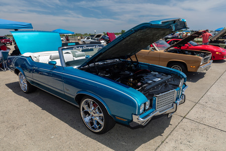 BROOKLYN, NEW YORK - JUNE 11 2017: A 1972 Oldsmobile Cutlass Supreme on display at the Antique Automobile Association of Brooklyn Annual Show at the Floyd Bennett Field in Brooklyn, New York, USA.