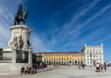 Lisbon, Portugal, August 6, 2017: Bronze equestrian statue of King Jose I in Lisbon, sculpted by Joaquim Machado de Castro in 1775, considered the first work of public art in Portugal.