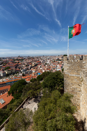City of Lisbon, Portugal, seen from Sao Jorge Castle. The castle, constructed during the Moorish occupation of Lisbon, is one of the main tourist sites of the city.