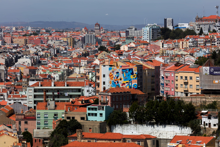 City of Lisbon, Portugal, view from the Sao Jorge Castle. Stock Photo