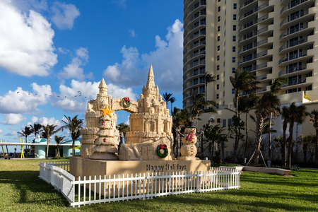 Christmas decorations in the Gilbert Samson Oceanfront Park in Sunny Isles Editorial