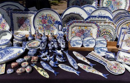 Assorted traditional Portugese souvenirs on sale in Porto, Portugal