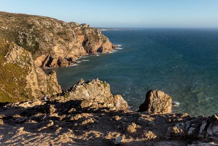 ロカ岬は、ポルトガル本土、ヨーロッパ大陸、ユーラシアの土地の質量の最西端を形成します。 写真素材