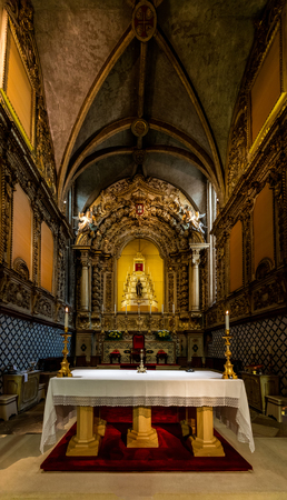 Altar of the 15th-century Church of St. John the Baptist, built by King Manuel I in the Manueline style.