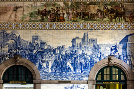 Sao Bento railway station's azulejo panel by Jorge Colaco circa 1916, depicting 1387 entrance to Porto of King John I and Philippa of Lancaster, on their wedding