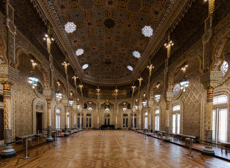 Arab Room in the Bolsa Palace, built between 1862 and 1880 by Goncalves e Sousa in the exotic Moorish Revival style, inspired by the Alhambra Palace in Spain.