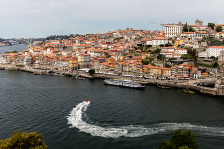 Porto, Portugal, August 16, 2017: View of Porto and the Douro River from the Dom Luis I Bridge 新聞圖片