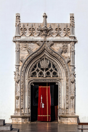 Gothic portal of the Church of St. John the Baptist in Tomar, Portugal