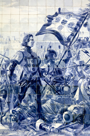Sao Bento railway stations azulejo panel by Jorge Colaco circa 1916, depicting 1415 Conquest of Ceuta and Prince Henry the Navigator subjugating the Moors