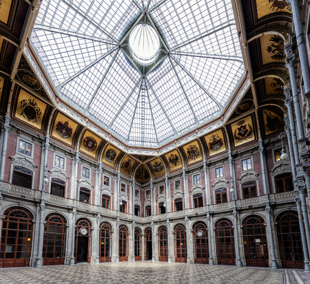 Portos old trading floor called the Courtyard of Nations in the Bolsa Palace, built in the 19th century by the citys Commercial Association in Neoclassical style.