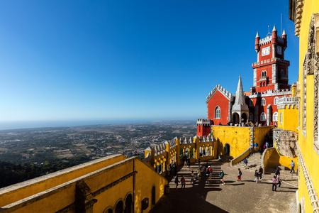 The Arches Yard, chapel and clock tower of the Pena Palace, a Romanticist castle, a UNESCO World Heritage Site and one of the Seven Wonders of Portugal.