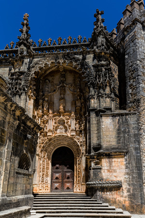 The main entrance of the Convent of Christ in Tomar, Portugal, built in the Manueline style.