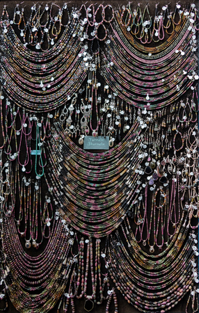 Assorted Tourmaline jewelry on display at a local jewelry store. Stok Fotoğraf
