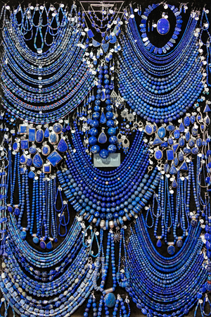 Assorted Lapis Lazuli jewelry on display at a local jewelry store.