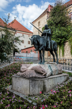 Equestrian Statue of St. George and the Dragon in Zagreb, Croatia, sculpted by Austrian sculptors Kompatscher and Winder in 1937.