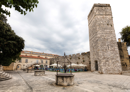 The pentagonal Captain's Tower on the Five Wells Square in Zadar, Croatia, built by the Venetians to strengthen the city against Turkish attacks.