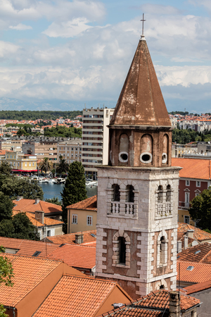 Bell tower of the 17th-century St Simeon's Church in Zadar, Croatia