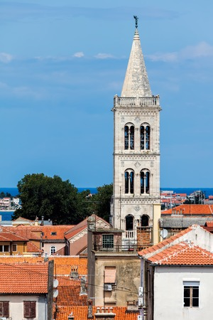 Bell tower of the Zadar Cathedral of St. Anastasia in Zadar, Croatia. The tower construction started in 1452 and finished in 1893.