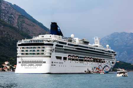 Norwegian Star cruise ship in the Bay of Kotor, Montenegro Editorial
